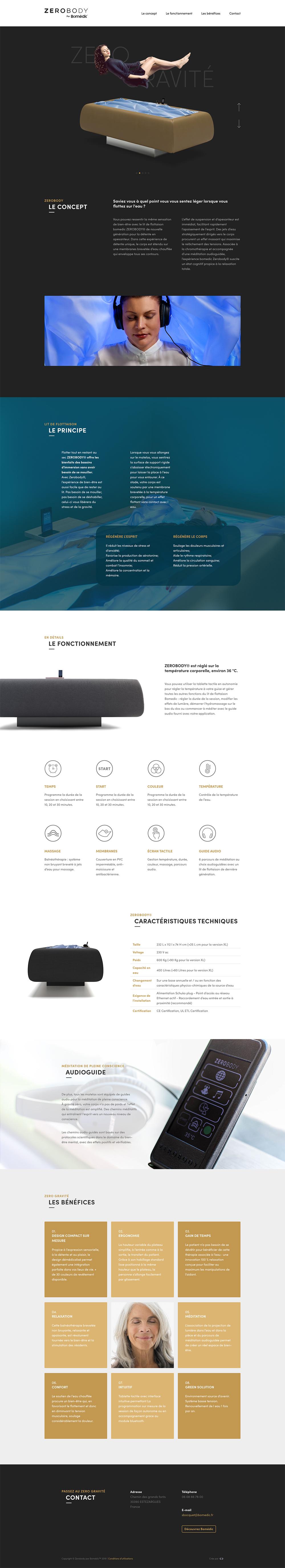 Capture d'écran du site internet Zerobody par Bomédic
