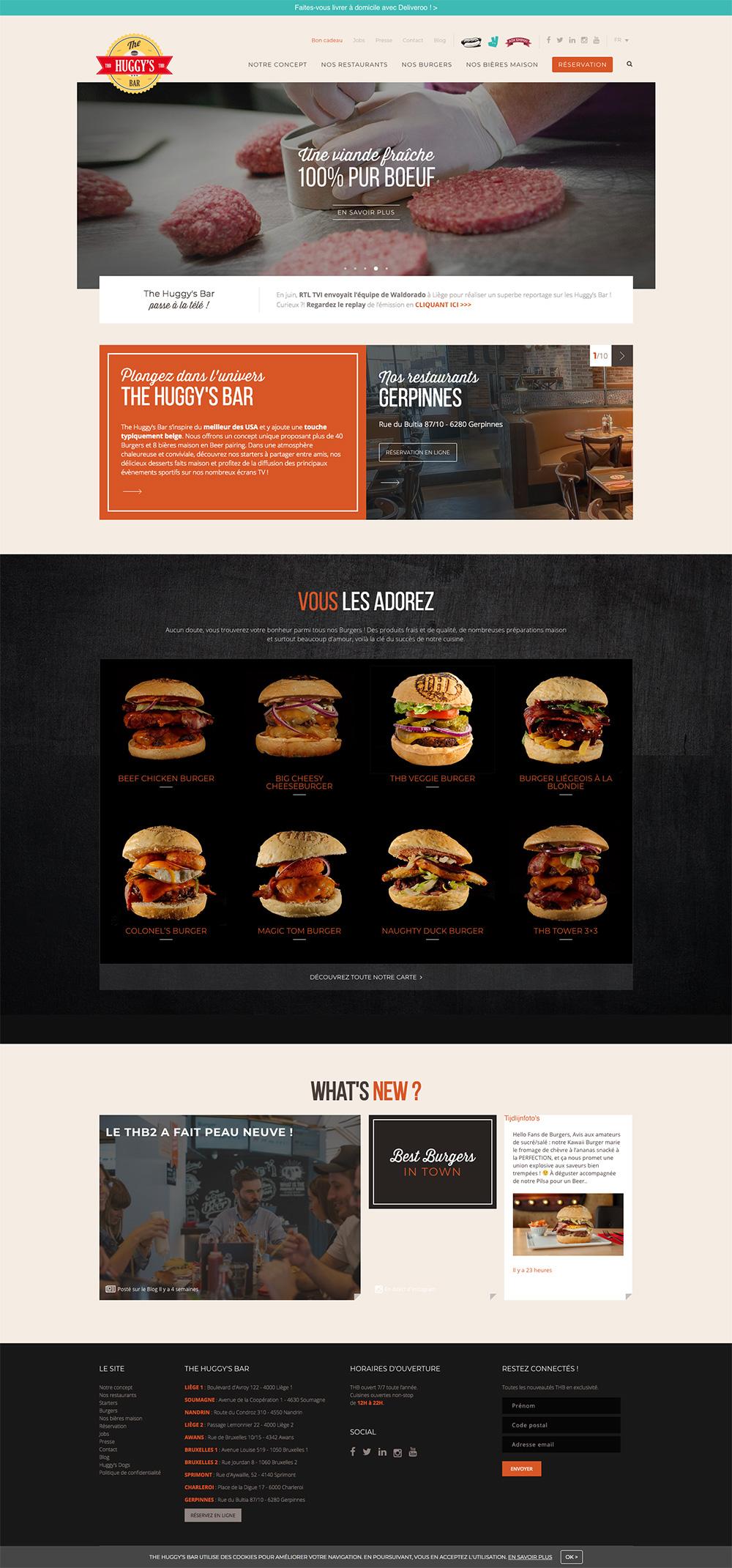 Screenshot de la page d'accueil du site internet The Huggy's Bar