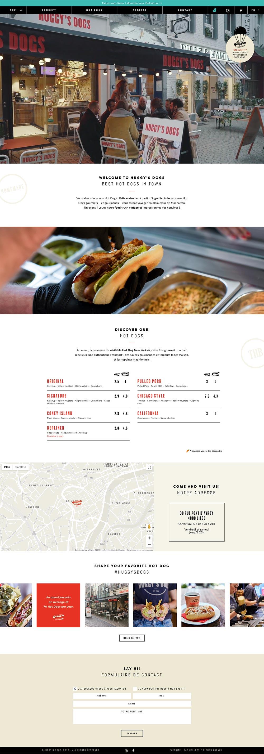 Capture d'écran de la page d'accueil du site internet de The Huggy's Dogs